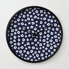 Blue White Spring Flower Pattern Wall Clock