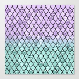 Mermaid Princess Glitter Scales #2 #shiny #pastel #decor #art #society6 Canvas Print