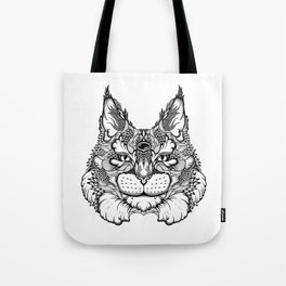 CAT maine coon  / LYNX head. psychedelic / zentangle style Tote Bag