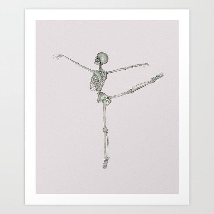 Ballerina Skeleton in Arabesque: Ballet lover Gift Kunstdrucke