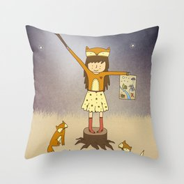 Little Fox Girl Throw Pillow