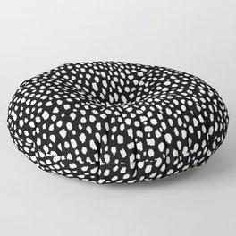 Handmade polka dot brush strokes (black and white reverse dalmatian) Floor Pillow