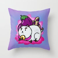 puppycat Throw Pillows featuring A Chubby Puppycat by Kristin Frenzel