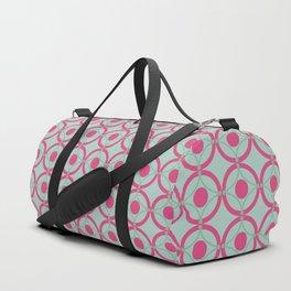 Lattice Circles Modern Geometric Pattern Hot Pink Mint Green Duffle Bag