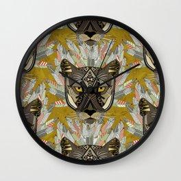 native mountain lion gold Wall Clock