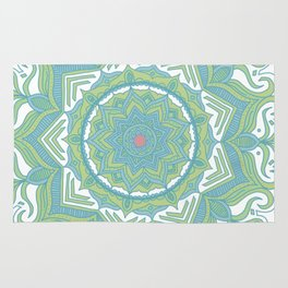 Blue and Green Flower Mandala II Rug