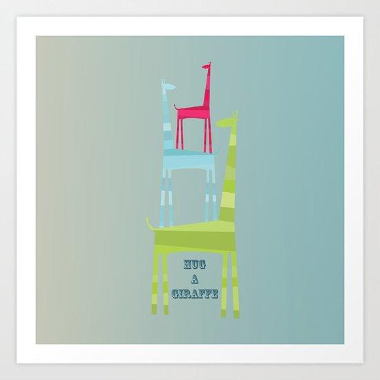 Hug A Giraffe Art Print