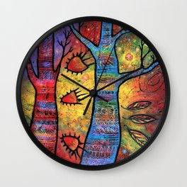 Aspens in an Enchanted Forest with Flying Fish - A Fantastic Journey Wall Clock