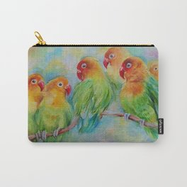 LOVE BIRDS Wildlife Tropical Parrots painting Pastel colors decor for bird lover Carry-All Pouch