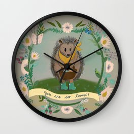 Happy Hedgehog Surrounded By Flowers - You Are So Loved - DeJong Adoption Wall Clock