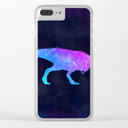 T-REX IN SPACE // Dinosaur Graphic Art // Watercolor Canvas Painting // Modern Minimal Cute Clear iPhone Case