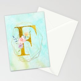 Gold Foil Alphabet Letter F Initials Monogram Frame with a Gold Geometric Wreath Stationery Cards