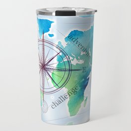 Watercolor map Travel Mug