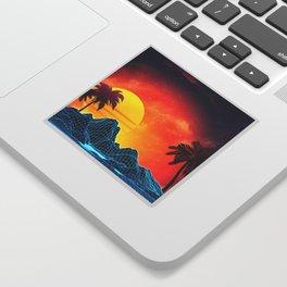 Sunset Vaporwave landscape with rocks and palms Sticker