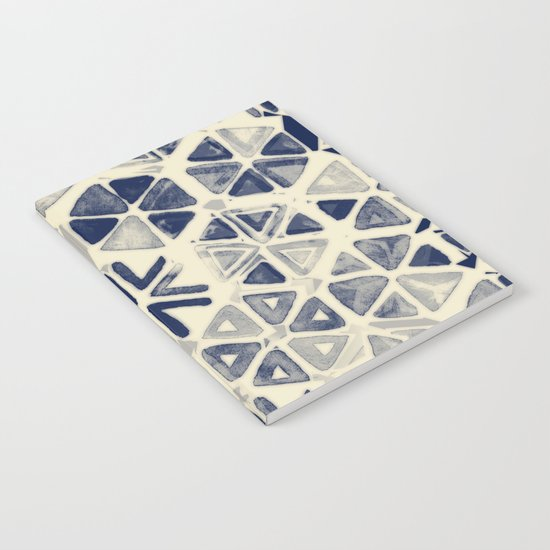 Hand Painted Triangle & Honeycomb Ink Pattern - indigo & cream Notebook