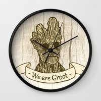groot Wall Clocks featuring Groot by Lynn Bruce