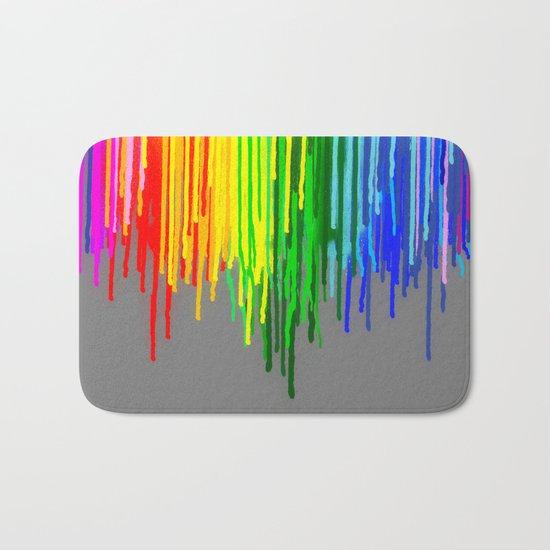 Rainbow Drips Gray Bath Mat