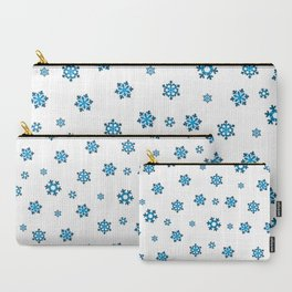 Snowflakes (Blue & Black on White) Carry-All Pouch