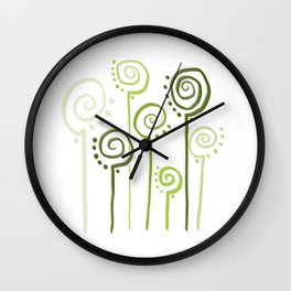 Green Curls´n´Dots Wall Clock