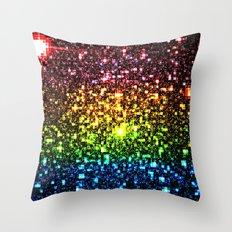 Geometric Galaxy Stars : Rainbow Throw Pillow