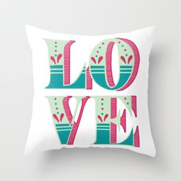 LOVE Dropcap, Pink Teal Throw Pillow