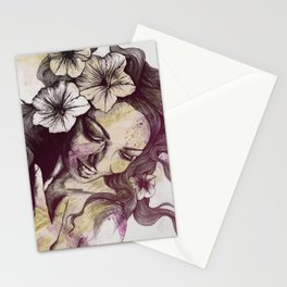 In The Year Of Our Lord: Wine (smiling lady with petunias) Stationery Cards