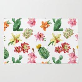 Watercolor Cacti Pattern Rug