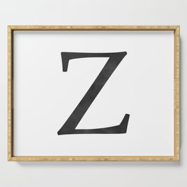 Letter Z Initial Monogram Black and White Serving Tray
