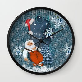 Funny Santa Claus with snowman Wall Clock