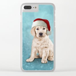 Drawing puppy Golden Retriever in red hat of Santa Claus Clear iPhone Case