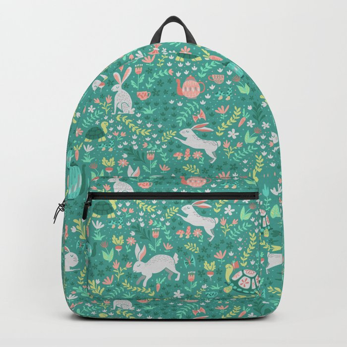 Spring Pattern of Bunnies with Turtles Backpack