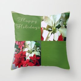 Mixed color Poinsettias 1 Happy Holidays Q5F1 Throw Pillow