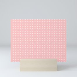 Simple White Polka Dots on Pastel Pink Mini Art Print