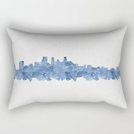 Minnepolis Minnesota Skyline Florals Blue Rectangular Pillow