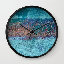 Rust and Cracks Turquoise Wall Clock