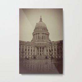 Madison Wisconsin Capital Building Architecture Sepia Photography Metal Print