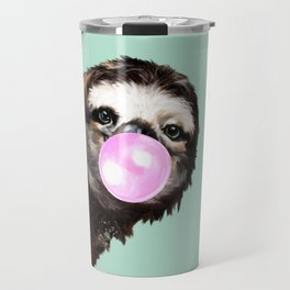 Bubble Gum Sneaky Sloth in Green Travel Mug