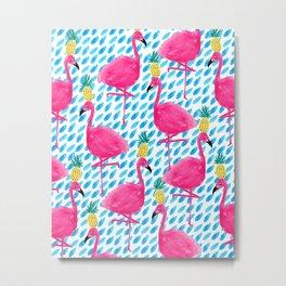 Party Flamingos Metal Print