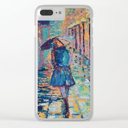 Girl with Umbrella - Figurative palette knife city landscape Valentines Day by Adriana Dziuba Clear iPhone Case