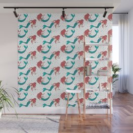 Red Haired Mermaids Pattern Wall Mural