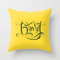 brasil Throw Pillows featuring BRASIL by Roberlan Borges