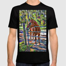 Abstract horse standing at gate Black MEDIUM Mens Fitted Tee