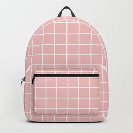 Baby pink - pink color - White Lines Grid Pattern Backpack
