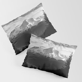 Mount Shasta Morning in Black and White Pillow Sham