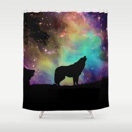 Wolf Galaxy Shower Curtain