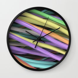 Twisted colorful wires Wall Clock