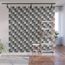 Rustic Brown Gray Blue Patchwork Wall Mural
