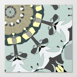 Whimsical Pattern in Blue and Gray Tone with Pale Yellow Canvas Print