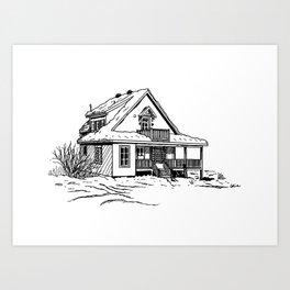 Winter Cottage Ink Art Print