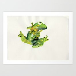 Frog on Glass Art Print